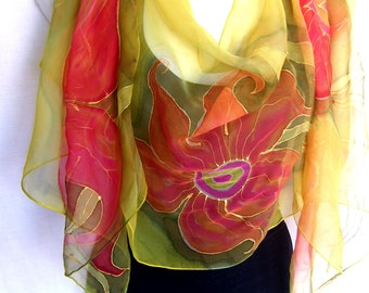 Hand Painted Silk Scarf, Orchids, Orange Lime Green Olive Green, Floral Silk Chiffon Scarf