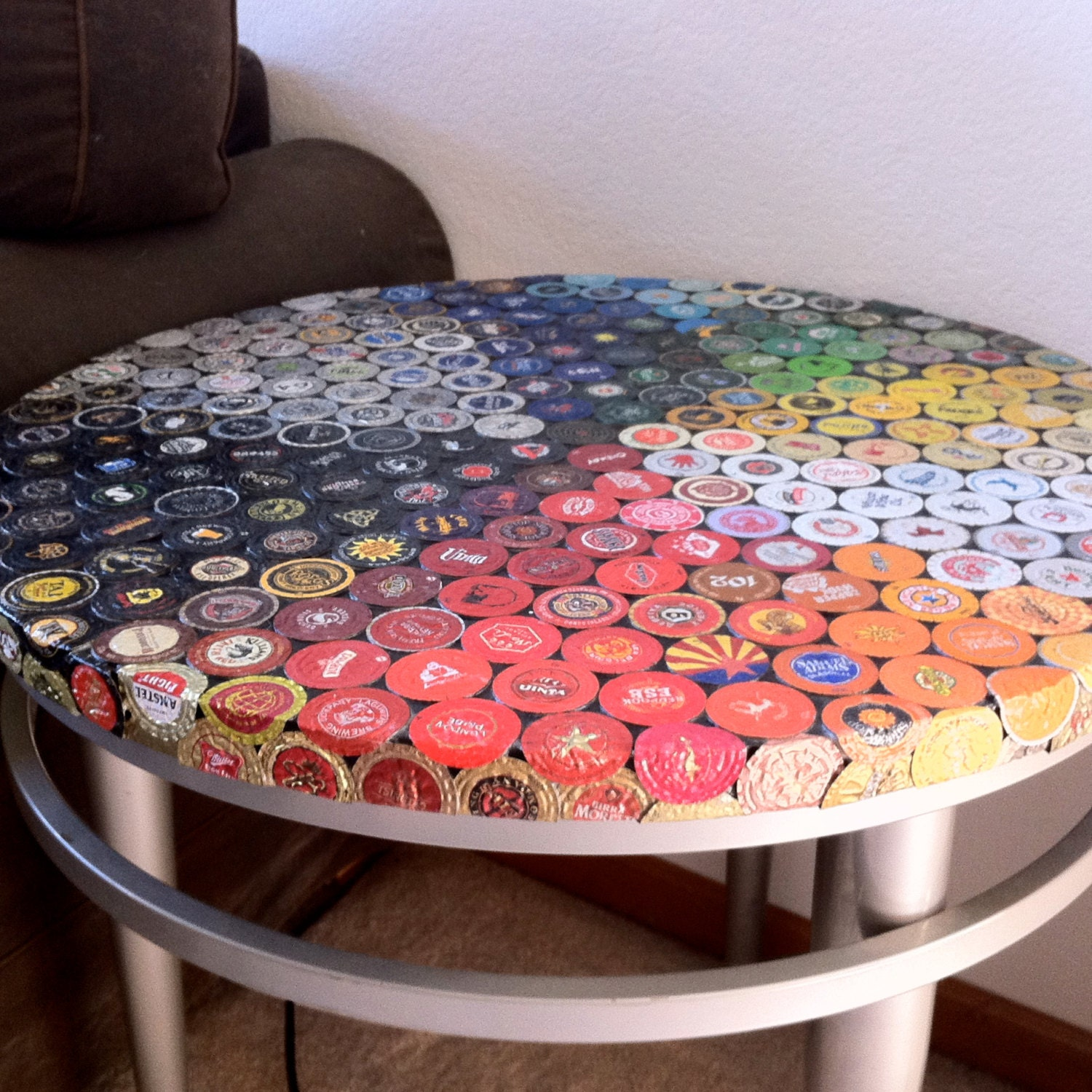 beer bottle cap mosaic table with silver base