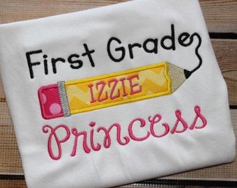 Personalized First Grade Princess Shirt