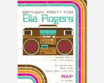 80s Party Invitation, Vintage Party Invitation, Retro Party Invitation, Fun Party Invitation, Custom Party