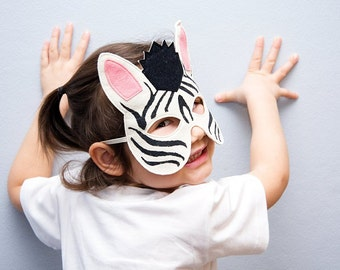 Zebra Kids Animal Mask, Children Carnival Mask, Stocking Suffer, Dress up Costume Accessory, Boys, Girls, Toddlers, Pretend Play Toy