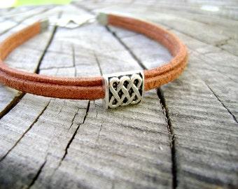 Men bracelet infinity silver charm tan eco suede mens vegan bracelet - Eau natural -mens jewelry