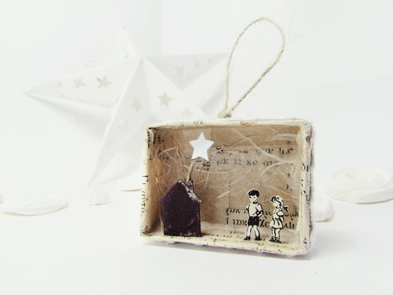 Handmade shadow box ornament -The Christmas house matchbox-