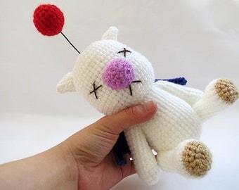 MADE to ORDER - Amigurumi Final Fantasy X Moogle Doll - amigurumi moogle plush, final fantasy crochet doll, moogle softie