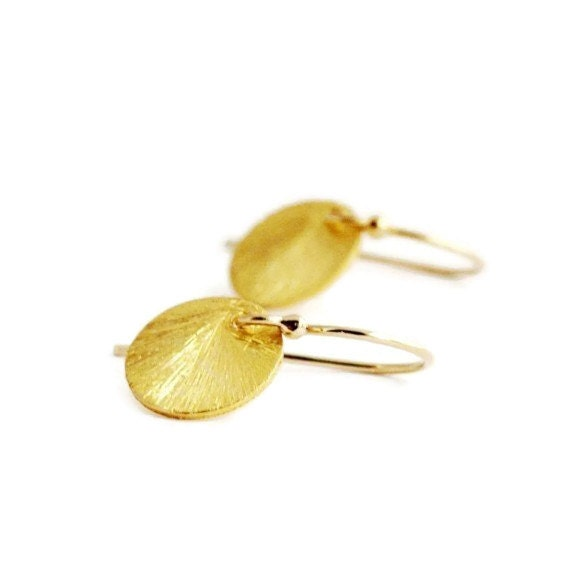 Tiny Gold Earrings, Small Sun Drop Earrings in Gold Filled and Vermeil