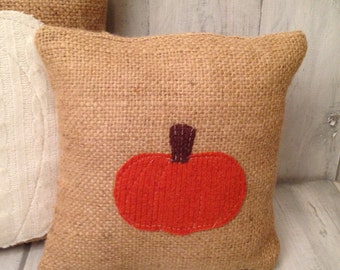 pumpkin pillow, burlap pillow, pumpkin decor, fall decor, fall pillow, home decor, throw pillow, decorative pillows, fabric pumpkin