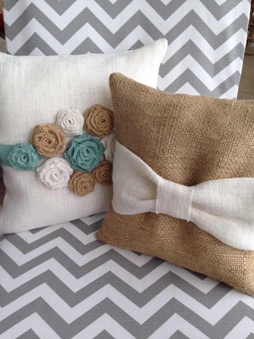 Shabby Chic Bed Pillows : Burlap Accent pillow shabby chic pillow by thelittlegreenbean