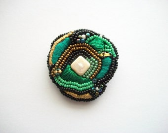 Mixed Media Art Piece Beaded and Embroidered Brooch One of a Kind Pin