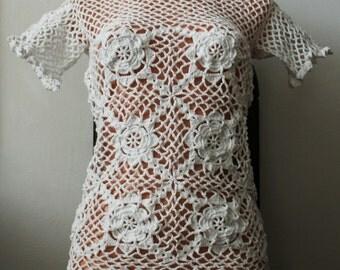 Short Sleeves White Crochet Summer Sweater