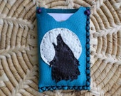 Handmade Turquoise colored Deerskin Leather Business / Credit Card Holder with a  Wolf Howling at the Moon design on the front