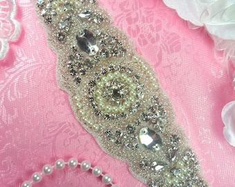 """XR276 Bridal Sash Motif Silver Crystal Clear Glass Rhinestone Applique with Pearls 8"""" (XR276-slcrp)"""