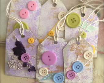 Sale Button Gift Tags Set of 6 Mixed Media Scrapbooking Tags Retro Style