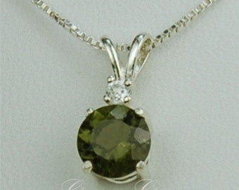 Moldavite Faceted Necklace 8mm Round 1.65ct Sterling Silver Rare Natural Untreated