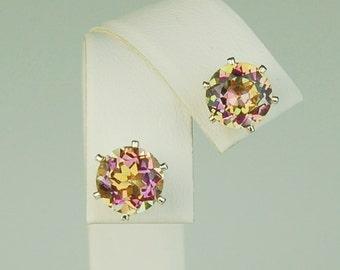 Mystic Topaz Pastel Multi Colored 8mm 5ctw Sterling Silver Stud Earrings