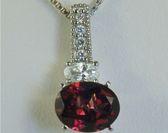 Rhodolite Garnet Necklace Sterling Silver 9x7mm 2.40ct with Round and Oval Cz's Natural Untreated