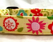 Sunny Spring Flowers Hearts and Doodles on Yellow Dog Collar Pink Blue Green