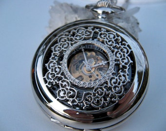 Pocket Watch Engraved Silver Arabic Mechanical Watch - Steampunk - Vest Watch or Pocket Watch - Watch - Item MPW158a-bf