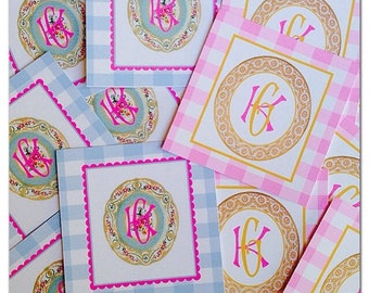 Monogram china gift tags
