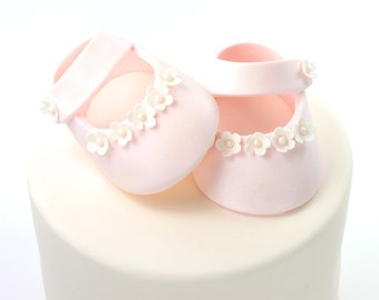 Pink Iridescent Sugar Paste Baby Shoes Cake Topper for Baby Shower by lil sculpture