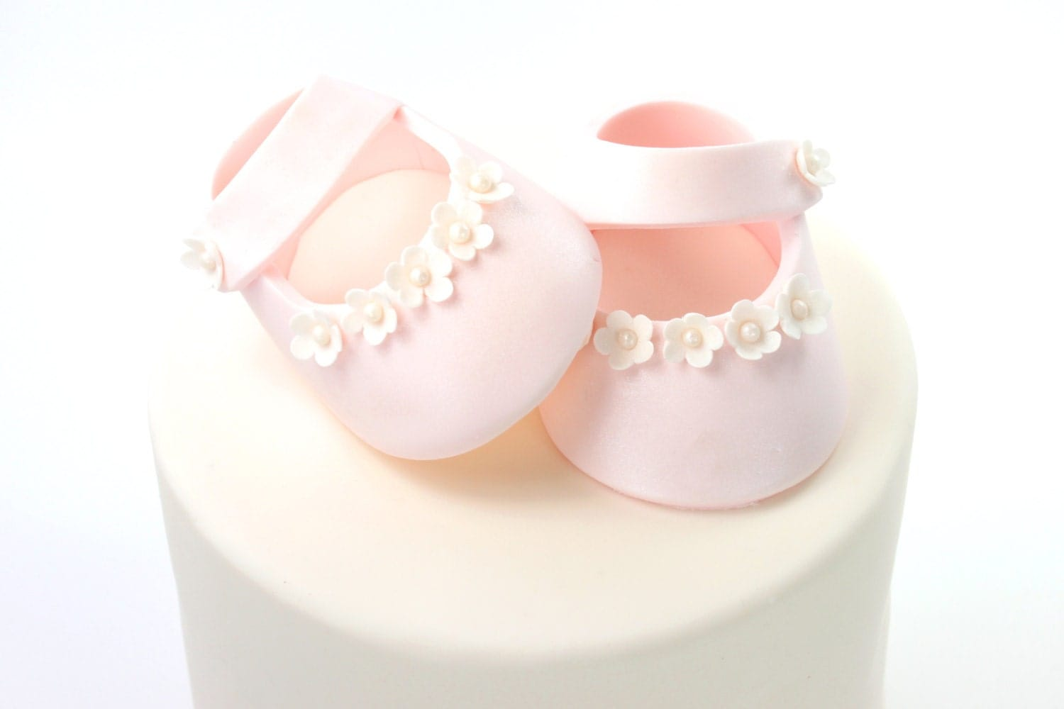 Pink Iridescent Sugar Paste Baby Shoes Cake Topper for Baby