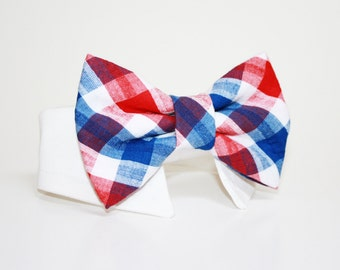 Dog Bow Tie- Shirt and Bow Tie Collar-  Wedding Dog Tie-  Plaid- Fourth of July