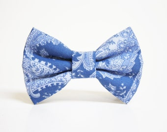 Dog Bow Tie- Cornflower Paisley- More options