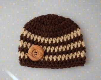 Newborn Baby Boy Beanie Cap with Wooden Button - Photographer's Prop