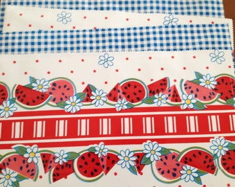 Summer's coming 2 reversible oilcloth placemats with watermelons