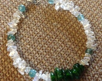 Handmade White Mystic Topaz, Apatite and Chrome Diopside Bracelet
