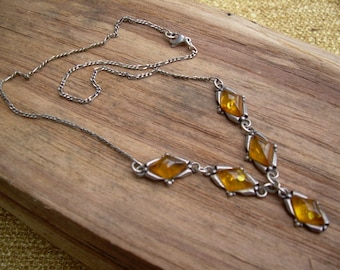 Beautiful Vintage Honey Amber and SS Sterling Necklace, Unmarked piece