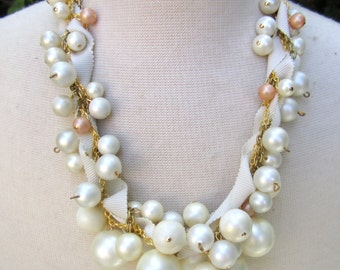 Chunky Pearl Ribbon Necklace Gold Wedding Jewelry Twisted Ivory Ribbon Bridal Statement Vintage Gold and Ivory Pearl - Pearls Gone Wild