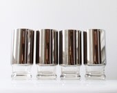 Vintage Mad Men Silver Ombre Glasses - Set of 4 High Ball Drink Glasses