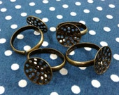 6 pcs Adjustable Antique Brass Ring with Hole Pad, NICKEL FREE