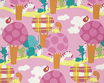 Play Date Fabric By David Walker Park Walk Cheer Polka Dot Trees Elephants Zebras Foxes on Pink