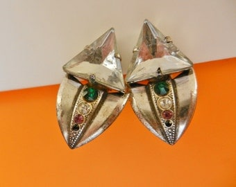 1960 double triangle earrings - original design with colored stones and large crystal - Art.954 --