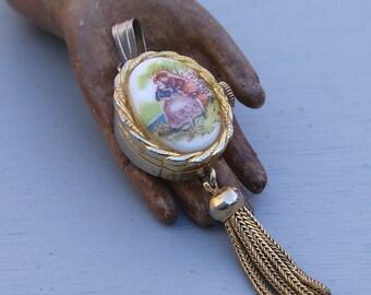Vintage Porcelain Watch Pendant LENGA Swiss Made
