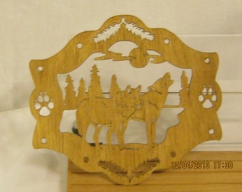 TWO WOLVES In A FRAME Hand Made Scroll Saw Plaque