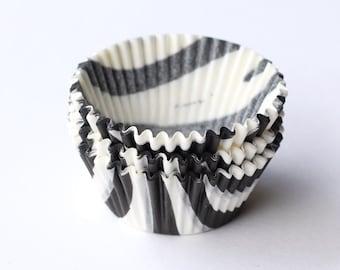 Zebra Cupcake Liners (50) Black and White Zebra Print Baking Cups