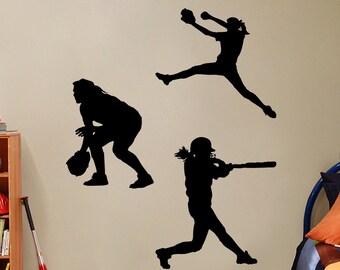 Softball Girls Set - Sports Wall Decals