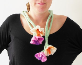 felt flowers cluster lariat necklace, eco friendly necklace scarf, statement necklace