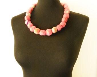 felt necklace pink balls, eco friendly, statement necklace, strand necklace