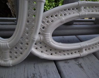 Vintage - Two Frames - Faux Wicker Bamboo Design - Antique White - Home Decor - Shabby Chic