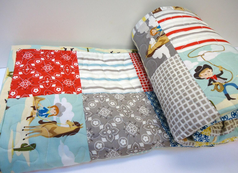 Baby Boy Quilt-Cowboy Crib Bedding-Sasparilla-Western Theme