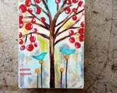 bird art block,The journey is the reward,ACEO  Reproduction Mounted On Wood Block by Sunshine Girl Designs (2.5 x 3.5 Inches Print)