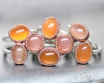 Stacking Rings Silver Copper Orange Chalcedony Peach and Nude Moonstone June Birthstone Bright Warm Colored Gemstone Bands - Sunset Candy