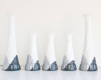 Milk Glass Vase Set, Silver Ombre Winter Wedding Decor, Holiday Mantel Decor, Upcycled Vases, White and Gray