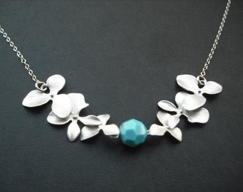 Sterling Silver Chain - double tripple orchid flowers with swarovski birthstone - bridesmaids gift, wedding gift