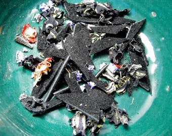 Leather Potpourri -- Black Suede Leather with Flower Petals and Essential Oils