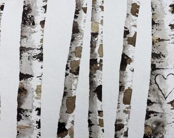 "Original Watercolor Painting-"" Birch Tree Heart"" Custom your own initials/Birch Tree art/original painting/jim lagasse/landscape watercolor"