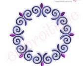 Curly Circle 2 Font Frame- Instant Email Delivery Download Machine embroidery design